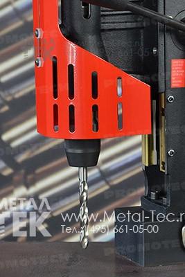Магнитный сверлильный станок МС-111 со спиральным сверлом (Быстросменный сверлильный патрон с адаптером под конус Морзе 4)